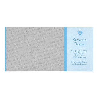 Baby Boy Footprints Photo Birth Announcement Card