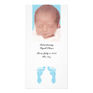 """""""Baby Boy Footprints"""" Photo Birth Announcements Picture Card"""