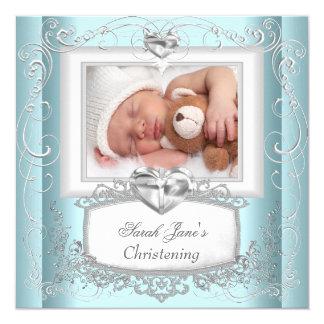 Baby Boy Girl Blue Christening Baptism Cross White 13 Cm X 13 Cm Square Invitation Card