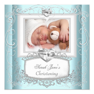 Baby Boy Girl Blue Christening Baptism Cross White Card