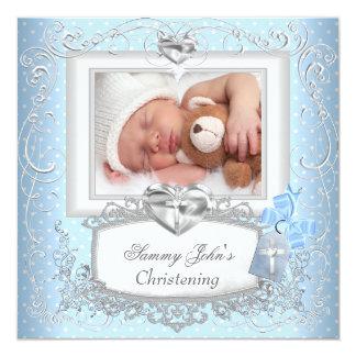 Baby Boy Girl Blue Christening Baptism Cross White Card