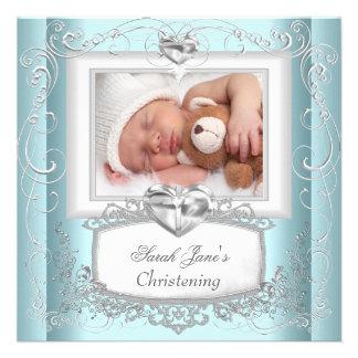 Baby Boy Girl Blue Christening Baptism Cross White Personalized Invites