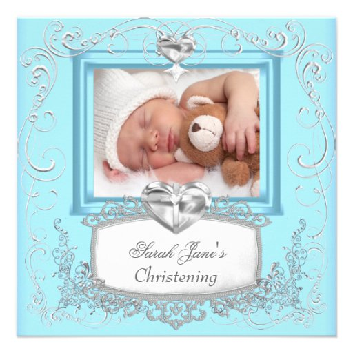 Baby Boy Girl Blue Christening Baptism Cross White Personalized Announcement