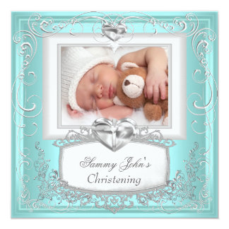 Baby Boy Girl Blue Christening Baptism Cross White 13 Cm X 13 Cm Square Invitation Card
