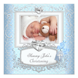 Baby Boy Girl Blue Christening Baptism Cross White 5.25x5.25 Square Paper Invitation Card