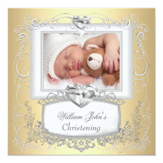 Baby Boy Girl Gold Cream Christening Baptism Cross 13 Cm X 13 Cm Square Invitation Card