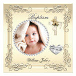 Baby Boy Girl Gold Cream Christening Baptism Cross Announcements