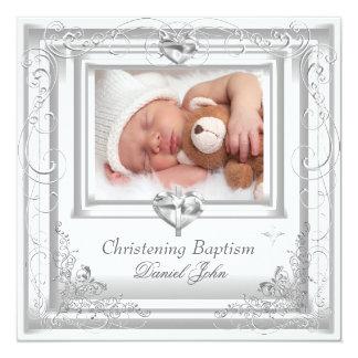 Baby Boy Girl White Christening Baptism Cross 13 Cm X 13 Cm Square Invitation Card
