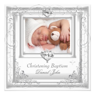 Baby Boy Girl White Christening Baptism Cross Announcements