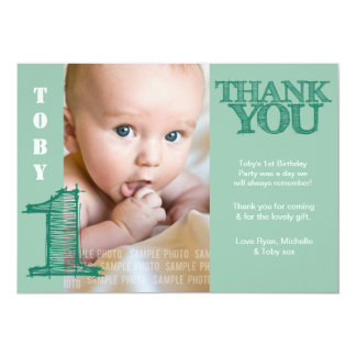 Baby Boy Green 1st Birthday Thank You Photo Card Announcement