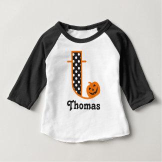 Baby Boy Halloween Tshirt Pumkin Initial t