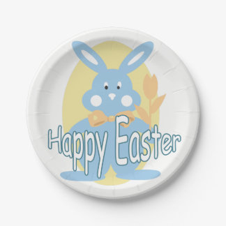 Baby Boy Happy Easter Bunny Paper Plate
