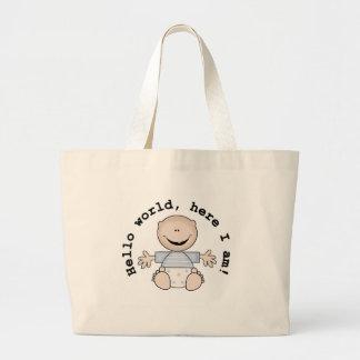 Baby Boy Hello World Jumbo Tote Bag