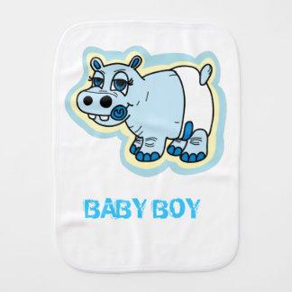 Baby boy hippo burp cloth