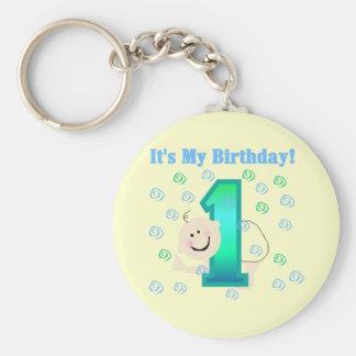 Baby Boy It's My 1st Birthday Basic Round Button Key Ring