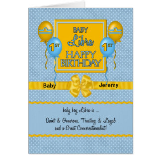 Baby Boy Libra 1st Birthday Zodiac Card