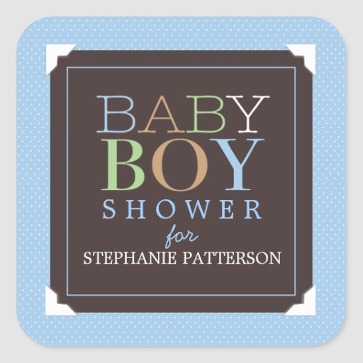Baby Boy Modern Blue & Brown Baby Shower Square Sticker