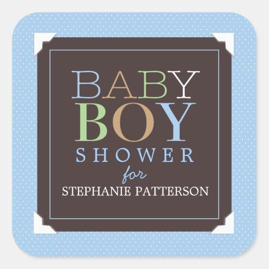Baby Boy Modern Blue & Brown Baby Shower Square Sticker