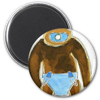 Baby Boy Monkey Diaper 6 Cm Round Magnet