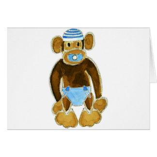 Baby Boy Monkey Diaper Greeting Card