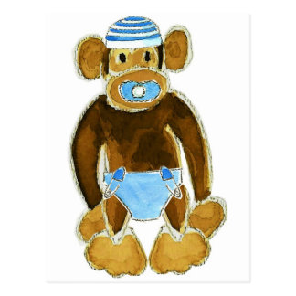 Baby Boy Monkey Diaper Postcard