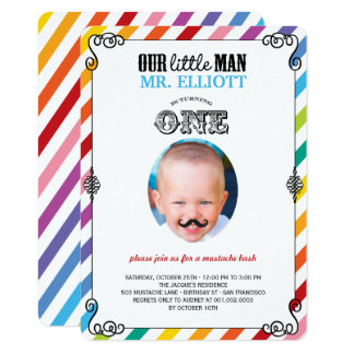Baby Boy Mustache 1st Birthday Party Photo Invite