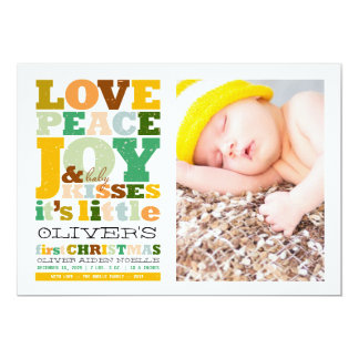 Baby Boy Name First Christmas Birth Announcement