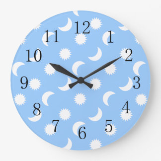 Baby Boy Nursery Lowpriced Sun Moon Blue Large Clock