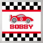 Baby boy nursery red racing car poster