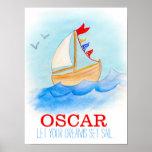 Baby boy nursery sailing boat poster