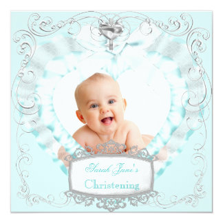 Baby Boy or Girl Blue Christening Baptism Cross 5.25x5.25 Square Paper Invitation Card