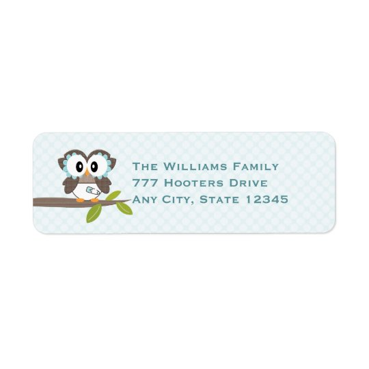 Baby Boy Owl Return Address Labels