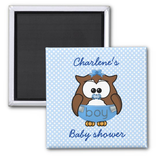 baby boy owl square magnet