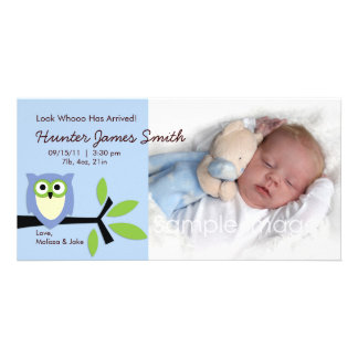 Baby Boy Owl Theme Birth Announcement Photo Card