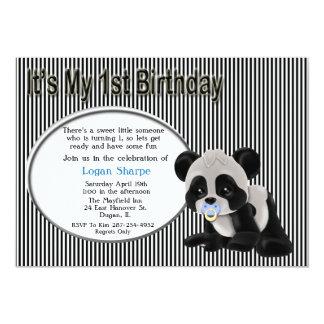 Baby Boy Panda Bear 1st Birthday Invitation