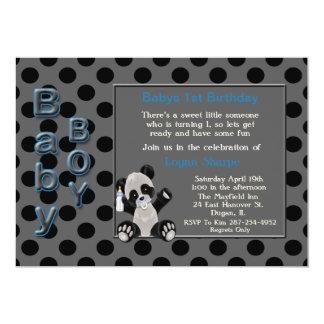 "Baby Boy Panda Bear 1st Birthday Invitation 5"" X 7"" Invitation Card"