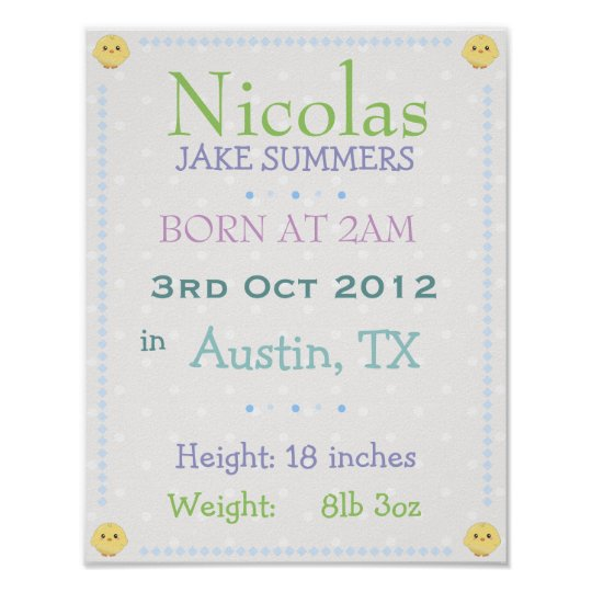 Baby boy personalised date of birth print