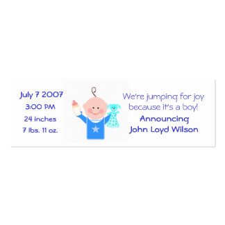 Baby Boy Personalized  Announcement Card Pack Of Skinny Business Cards