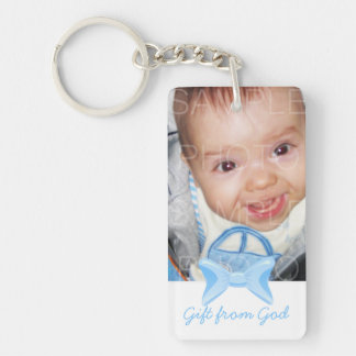 Baby boy Photo Gift from God Blue bow Bible verse Rectangle Acrylic Key Chains