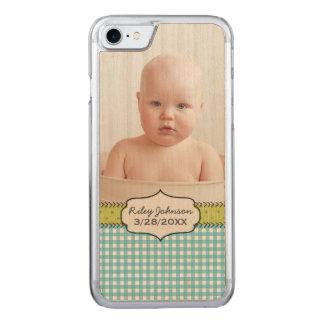 baby boy photo name and birthday keepsake carved iPhone 7 case