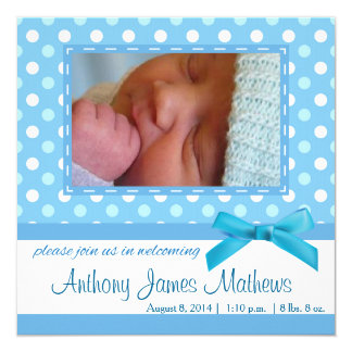 Baby Boy Polkadot Announcement Card