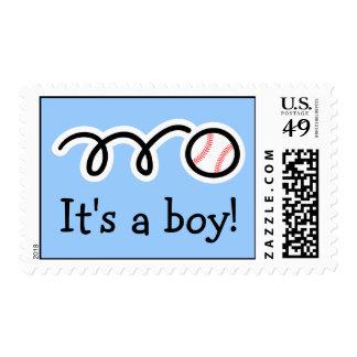 Baby boy postage stamps   Baseball design