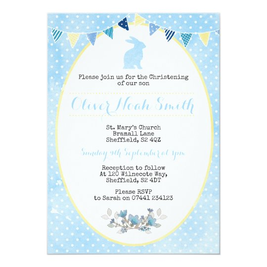Baby Boy Rabbit Christening Baptism Invitation Zazzle Co Uk