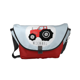 Baby Boy Red Farmer's Tractor with Name Diaper Courier Bag