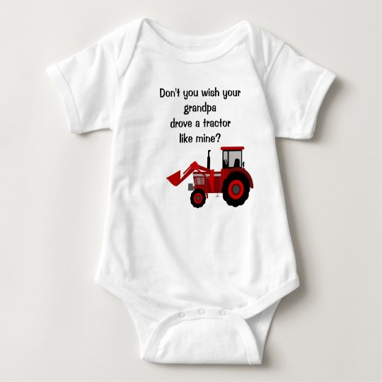 Baby Boy Red Tractor Grandpa Funny Saying Baby