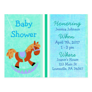 Baby Boy Rocking Horse Blue Baby Shower Invitation Postcard