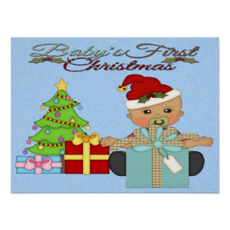 Baby Boy s 1st Christmas Poster Print