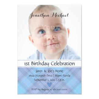 Baby Boy Shades of Blue Plaid Birthday Card