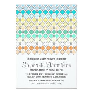 "Baby boy shower colorful quatrefoil 4.5"" x 6.25"" invitation card"