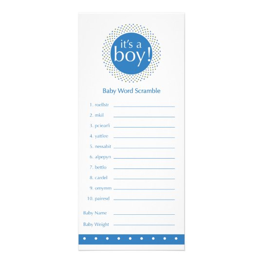 Baby boy Shower Games-blue Rack Card